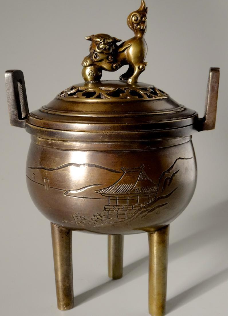 Japanese Antique Foo Dog Bronze Censer