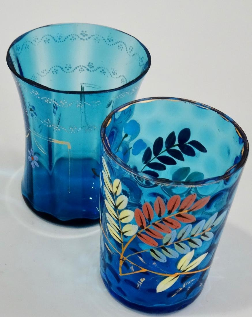 Victorian Blue Glass Enamel Painted Water Lemonade
