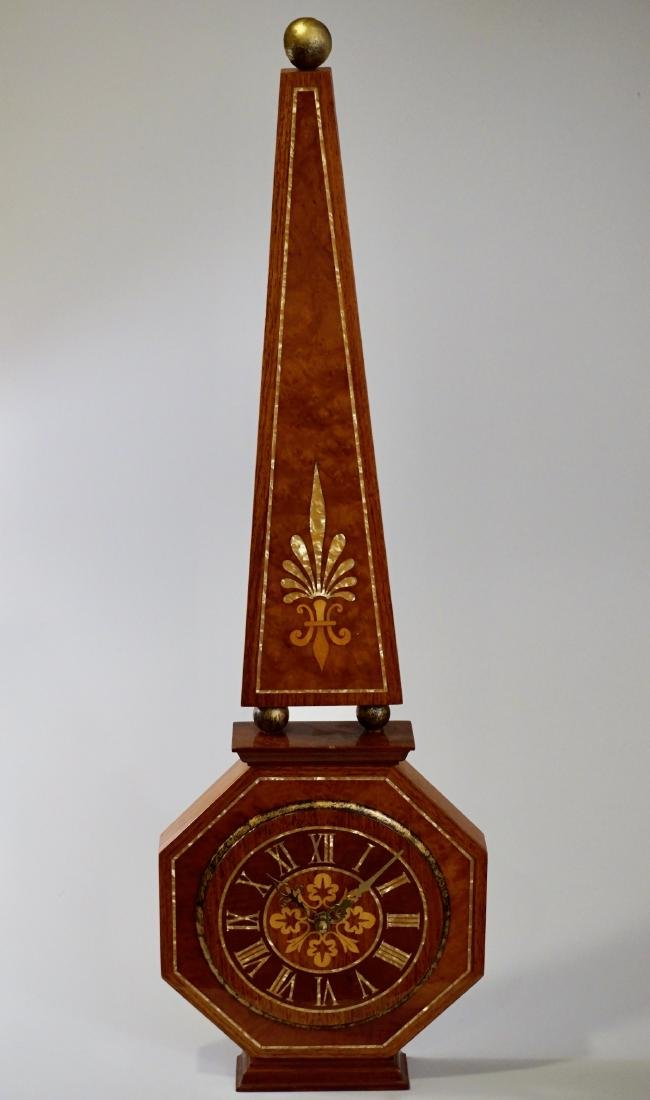 Italian Mid Century Marquetry Inlay Obelisk Wood Shelf