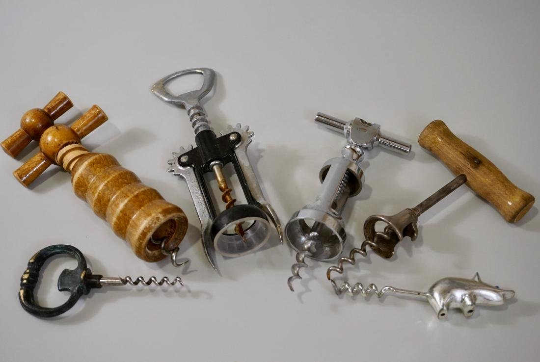Collection of Six Vintage Antique Corkscrew Wine Bottle