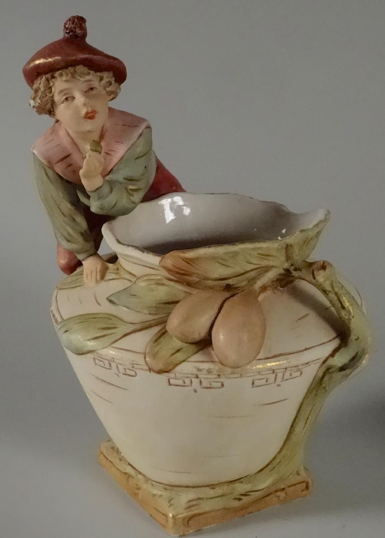 Royal Dux Figural Olive Boy Vase Artist Signed