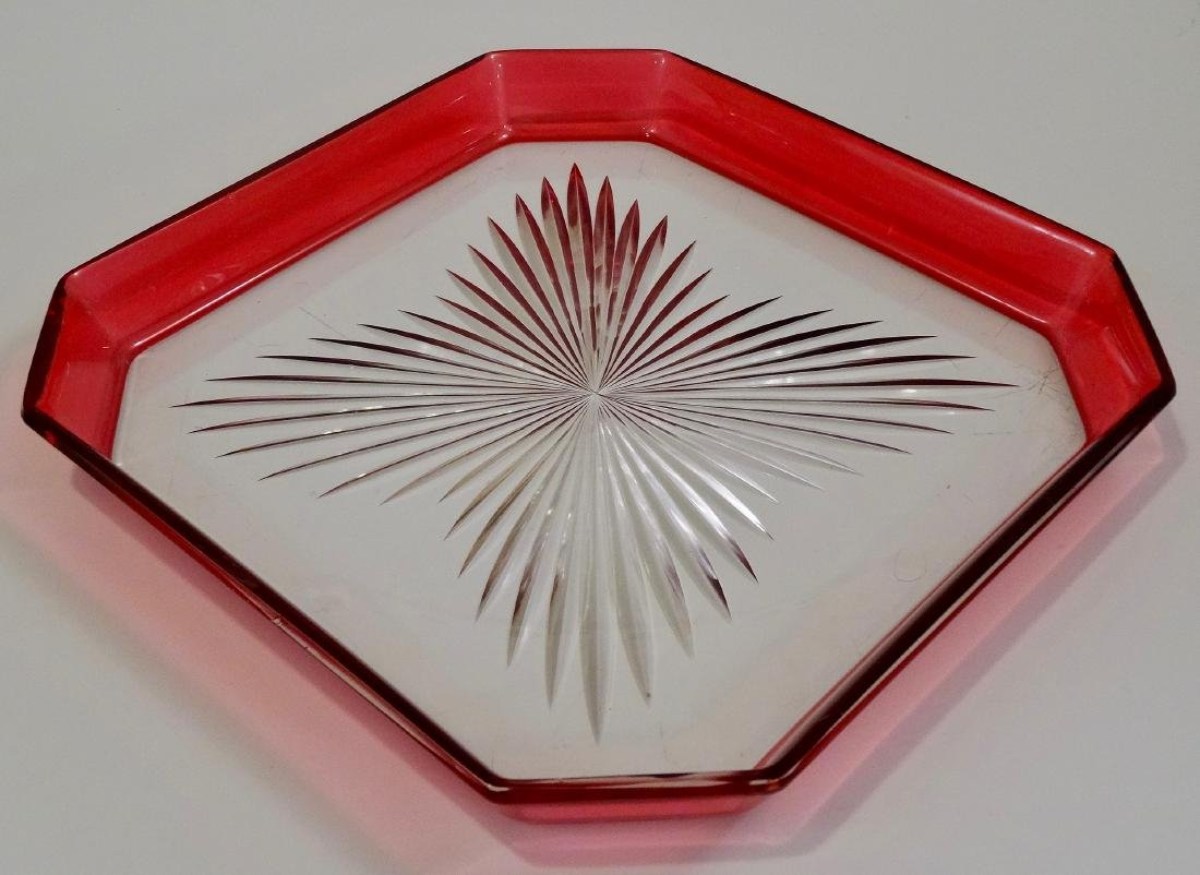 Pressed Glass Vintage Cut Corner Tray Cranberry Border