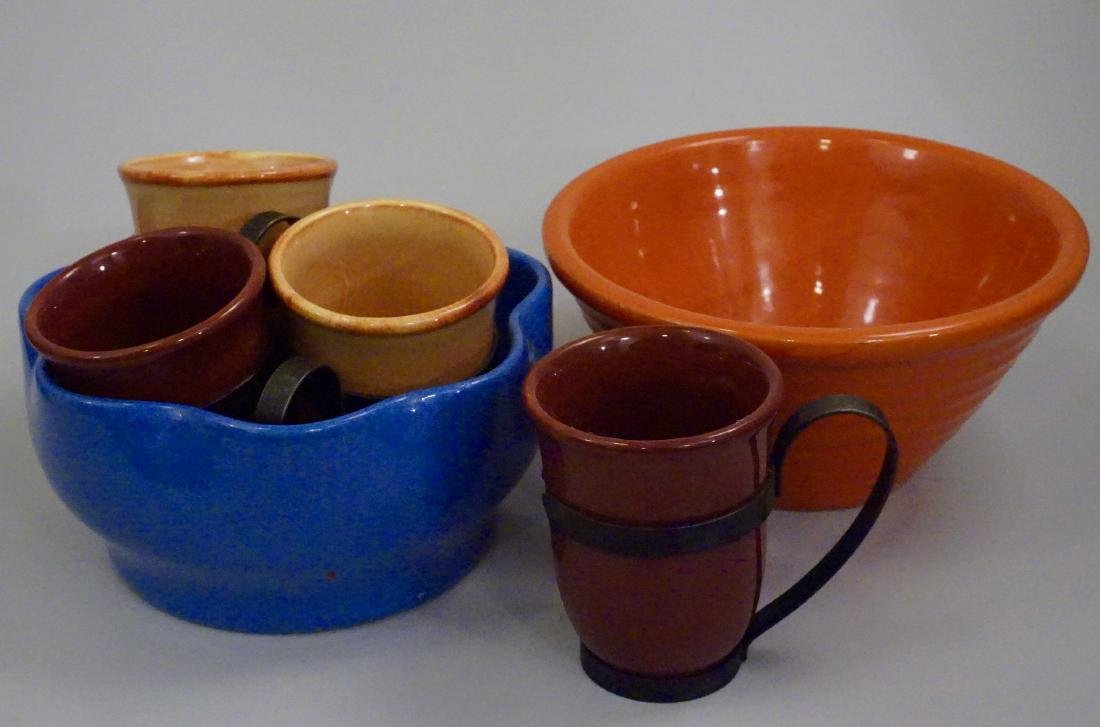 Vintage California Fiesta Pottery Mugs Bowls Lot