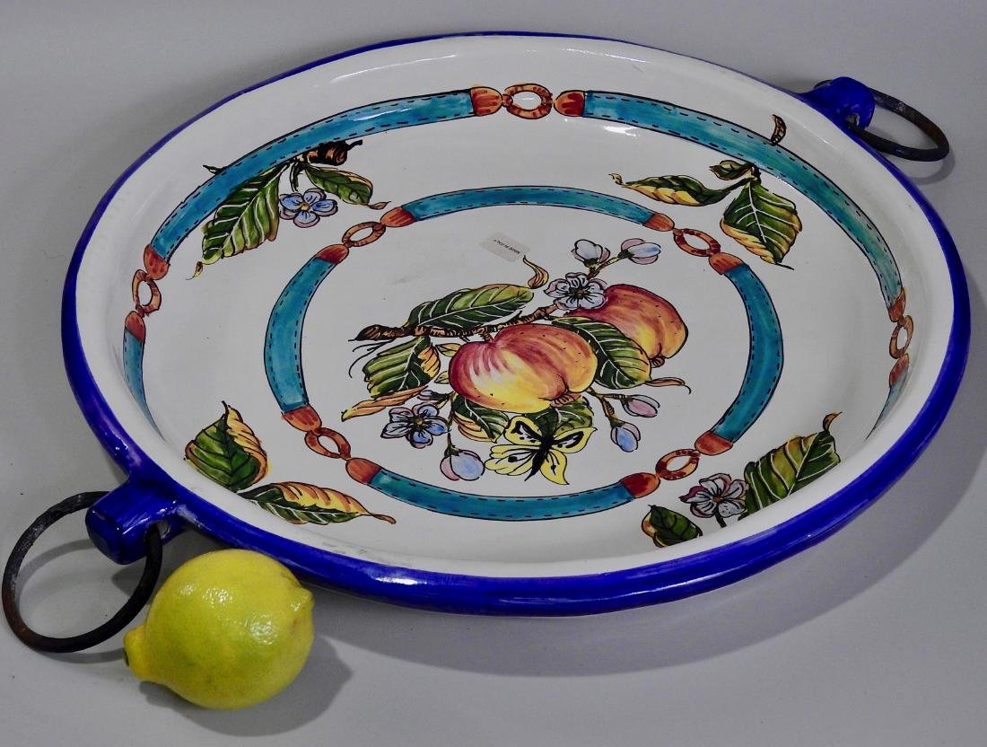 Large Hand Painted Italian Ceramic Round Tray With Iron
