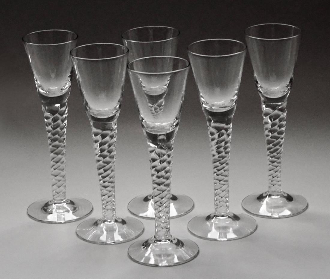 Twisted Stem Cordials Lot of 6 Clear Glasses