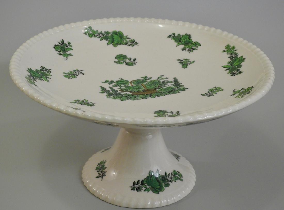 Spode Copeland Green Basket Compote Pedestal Dish
