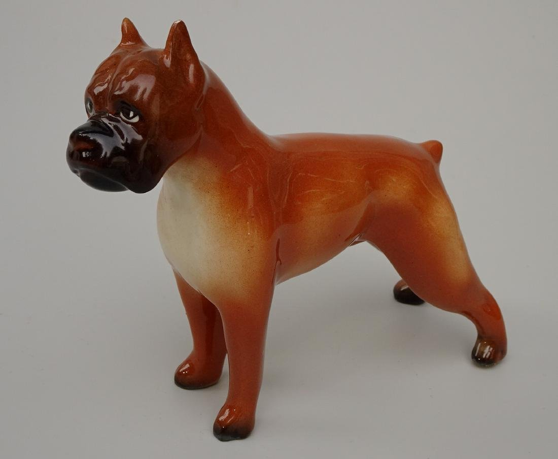 Vintage Painted Glazed China Boxer Dog Collectable