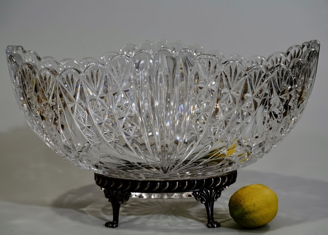 European Centrepiece Glass Bowl on Silver Plated Stand