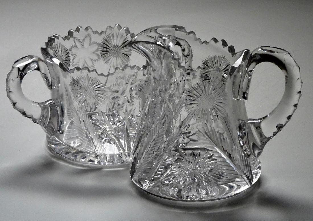 Dandelion American Brilliant Crystal Creamer and Sugar