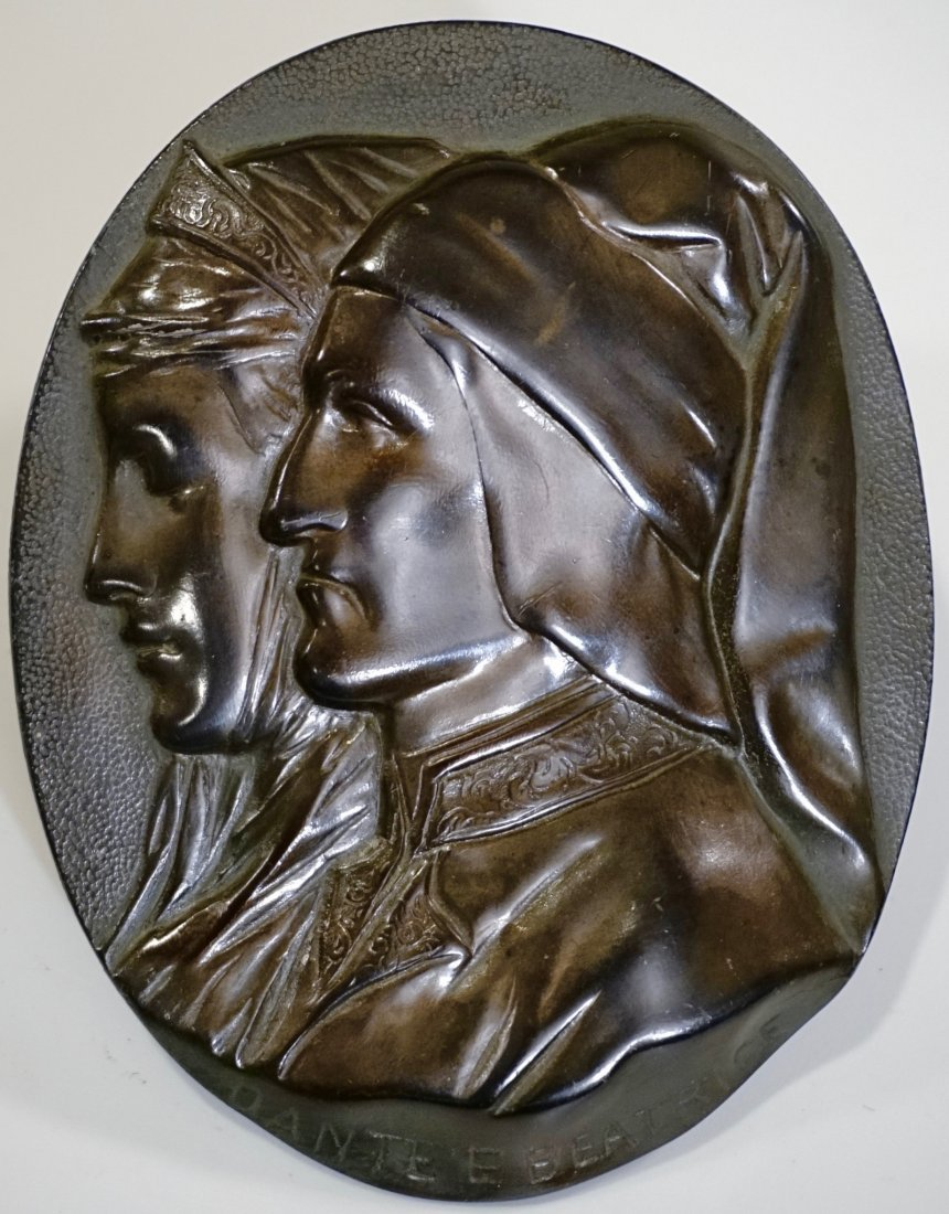 Dante and Beatrice Antique Cast Metal Wall Plaque