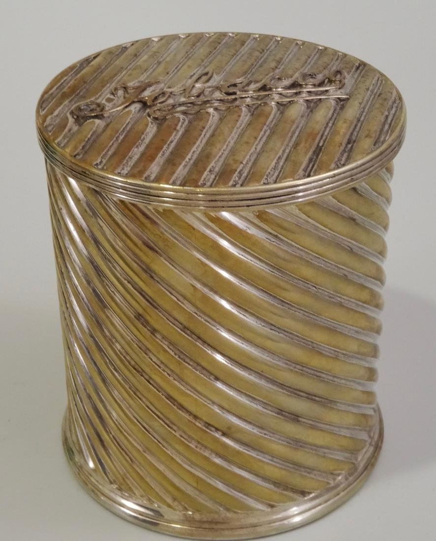 Victorian Tobacciana Humidor Silver Plated Twisted
