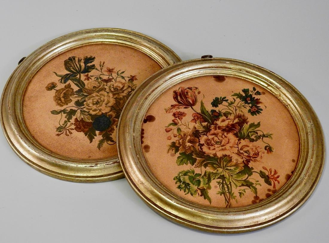 Pair Vintage Borghese Wall Roundel Florentine Plaques