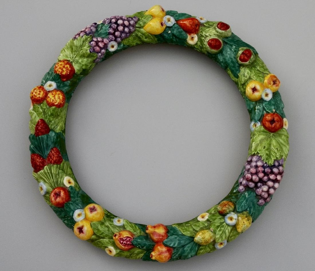 Large Vintage Italian Pottery Fruit Wreath Frame Della