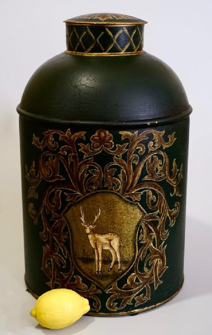 Tole Tea Canister Green Hand Painted Tin Deer Motif