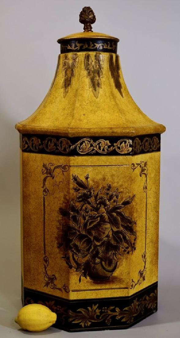 Large Oriental Style Yellow Pagoda Tea Container Hand