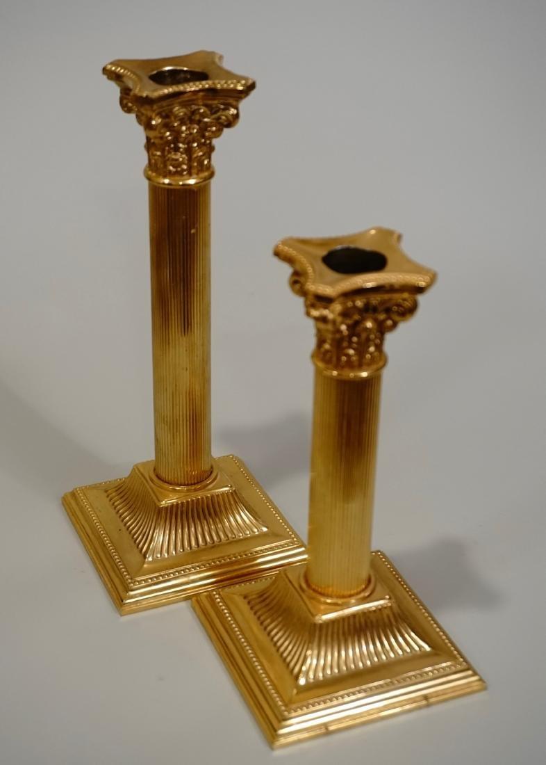 Gilded Corinthian Column Candlestick Pair Mid Century