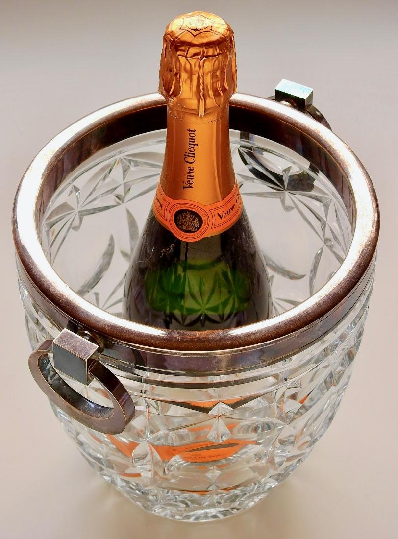 Large Glass Champagne Wine Cooler Ice Bucket Metal Trim