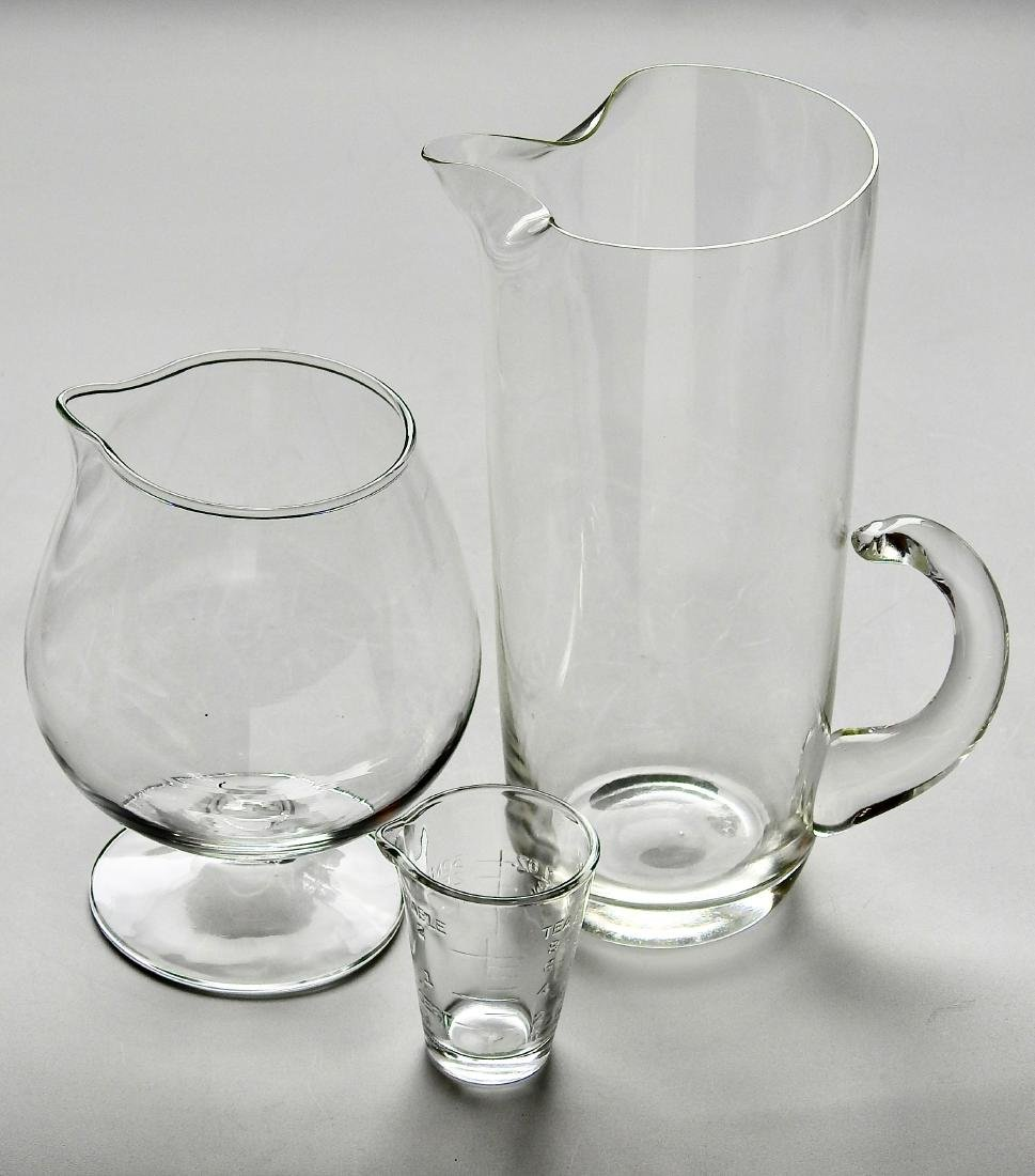 Vintage Barware Serving Clear Glass Pitchers Measuring