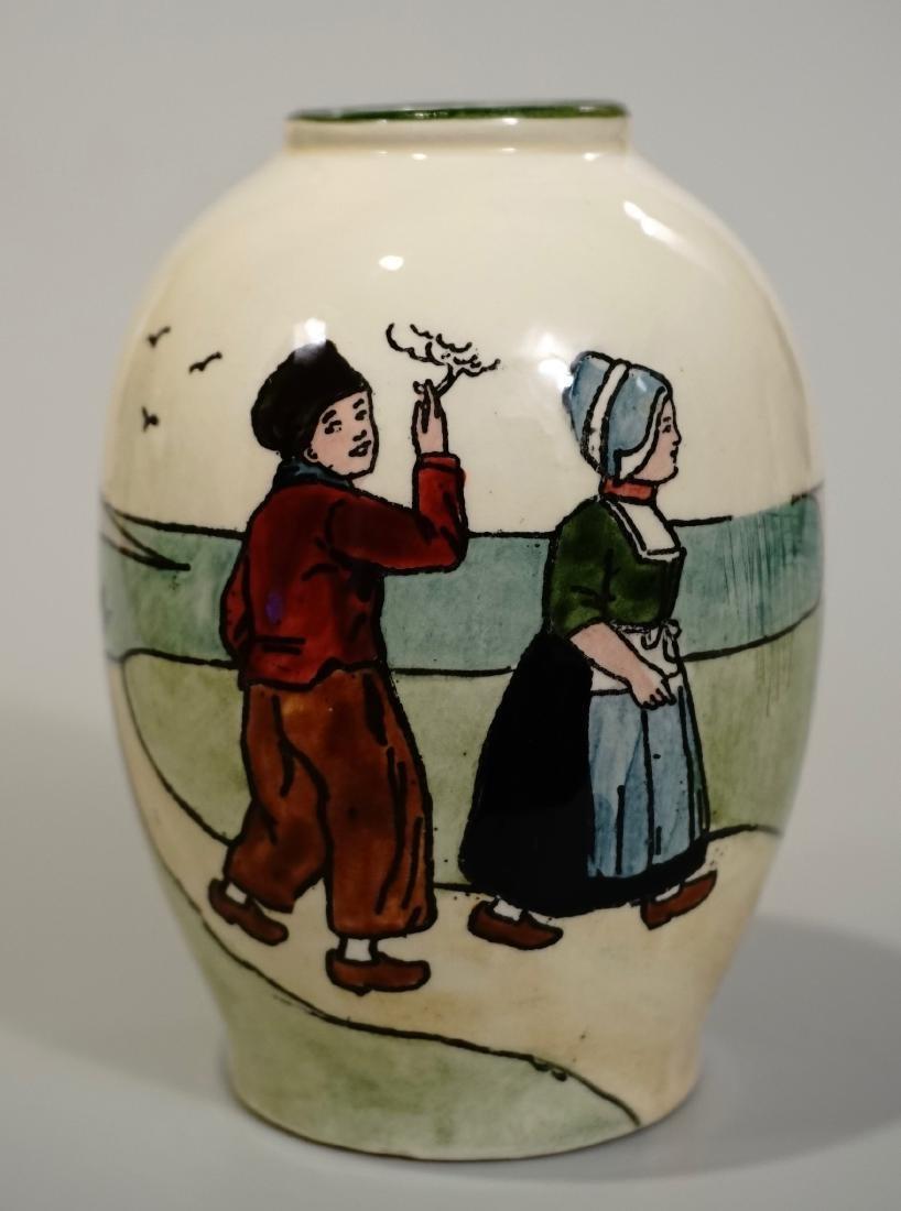 Antique Haag Pottery Austria Dutch Windmill Smoking