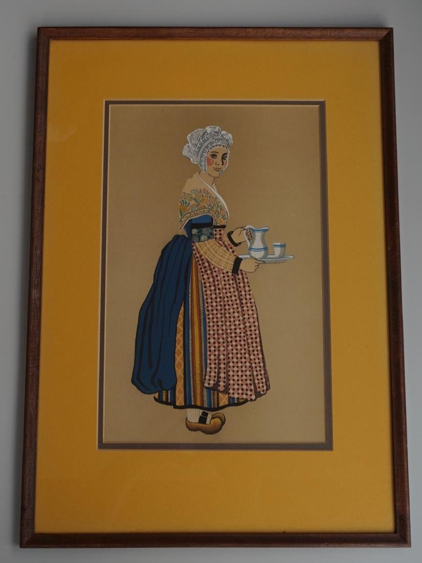 Vintage Folk Fashion Print Framed