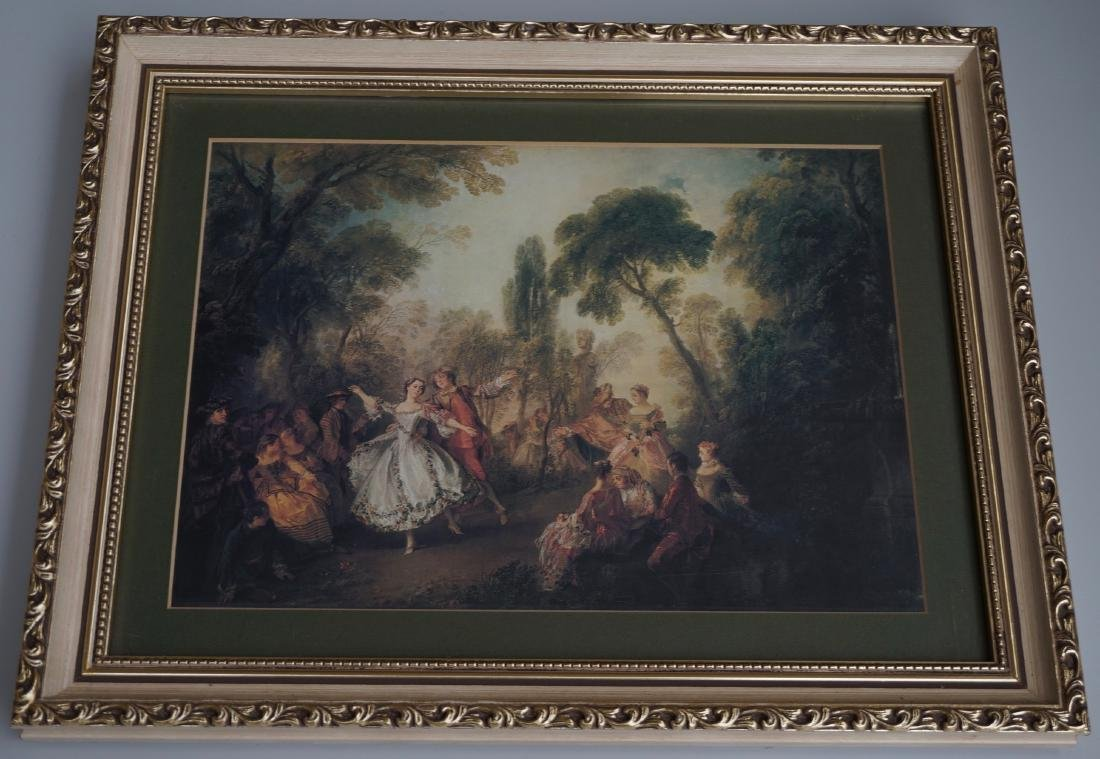 French Rococo Style Framed Print After Nicolas Lancret