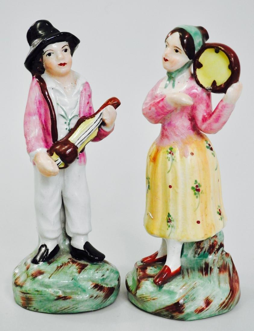 Pair Staffordshire Ware Figurines Hurdy Gurdy