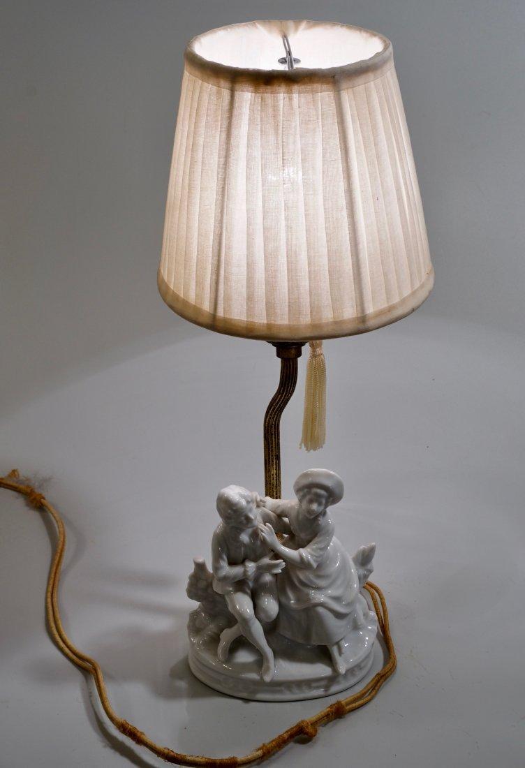 Vintage Blanc De Chine Porcelain Boudoir Figurine Lamp