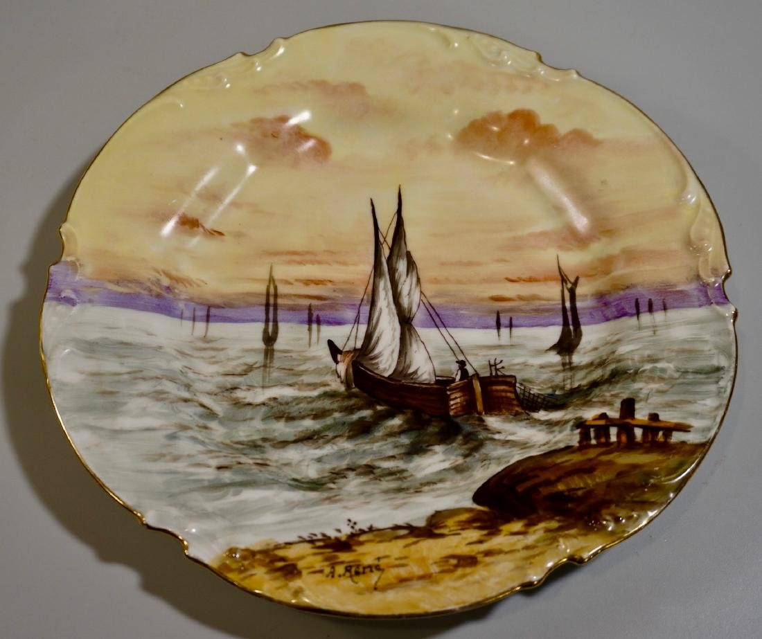 Antique French Limoges Porcelain Maritime Hand Painted
