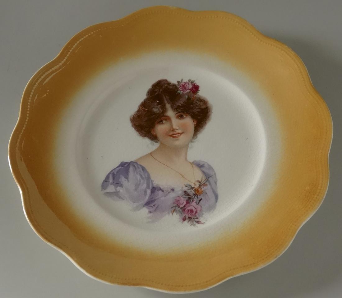 Antique Victorian Maiden Portrait Cabinet Plate