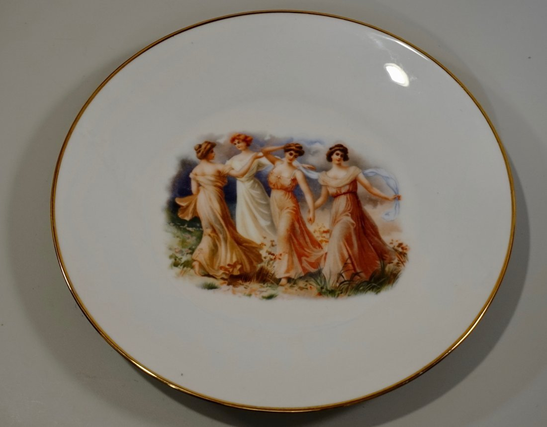 Old Vienna Plate Porcelain Wall Plaque Dancing Maidens