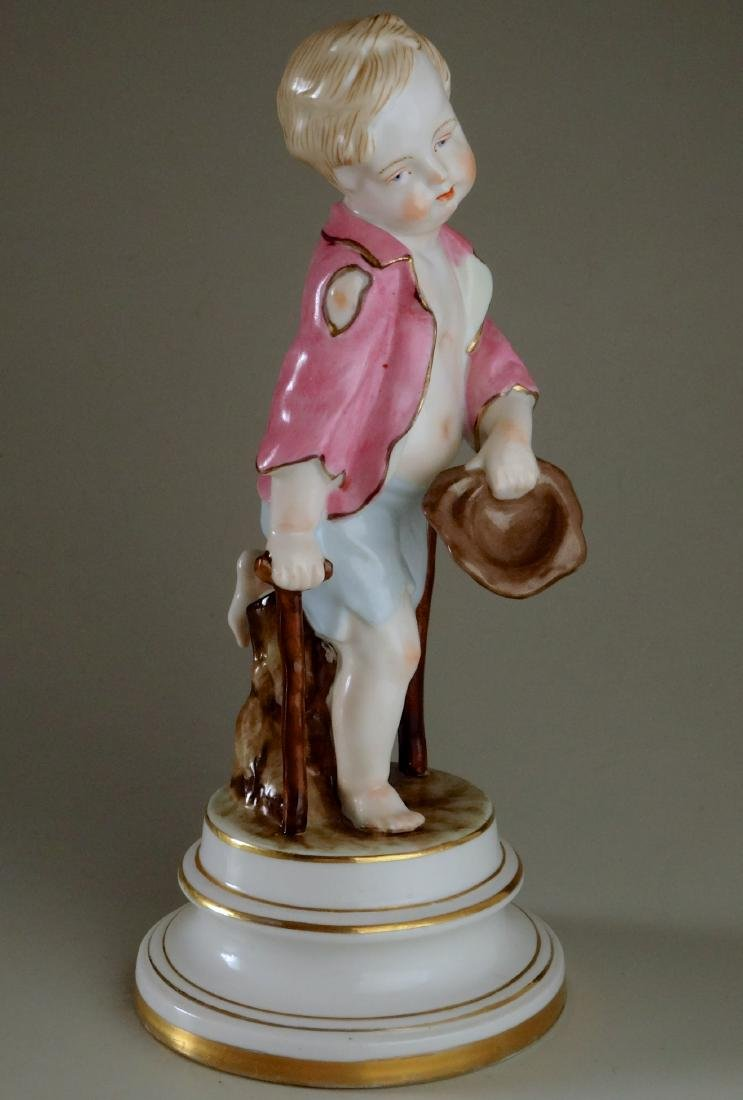 Porcelain Figurine Beggar Boy on Crutches in Meissen