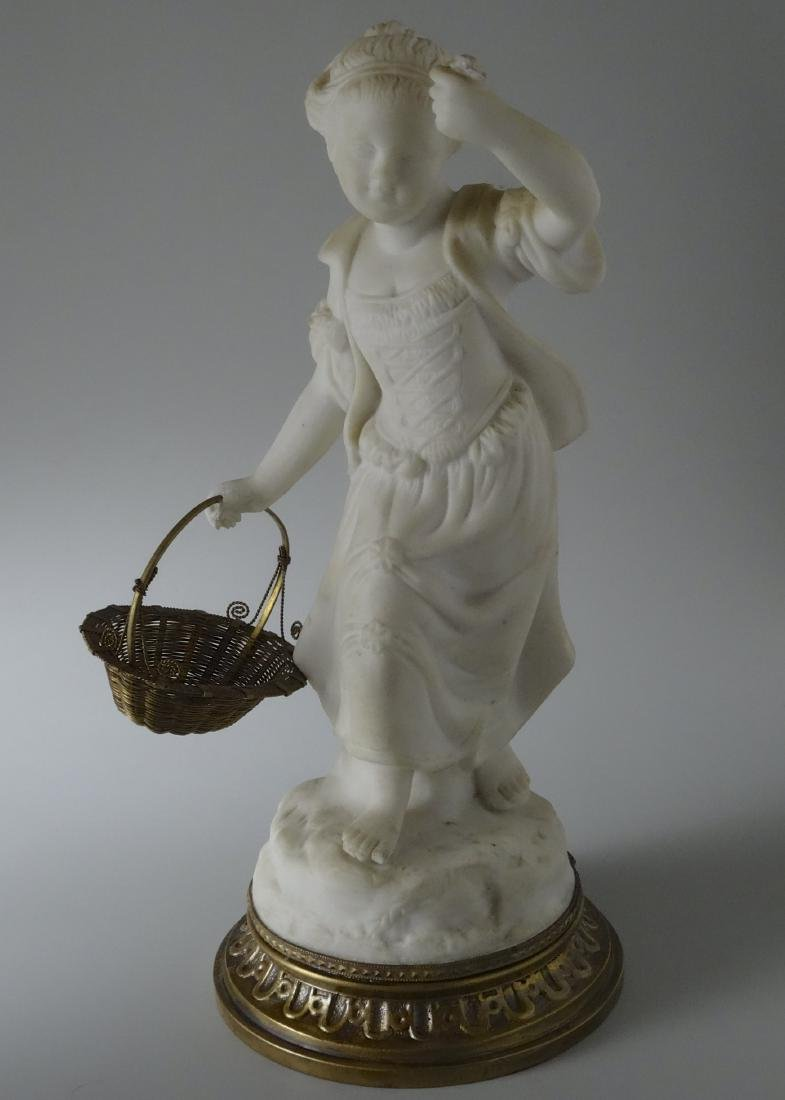 Victorian Parian Gardening Girl Figurine with Brass