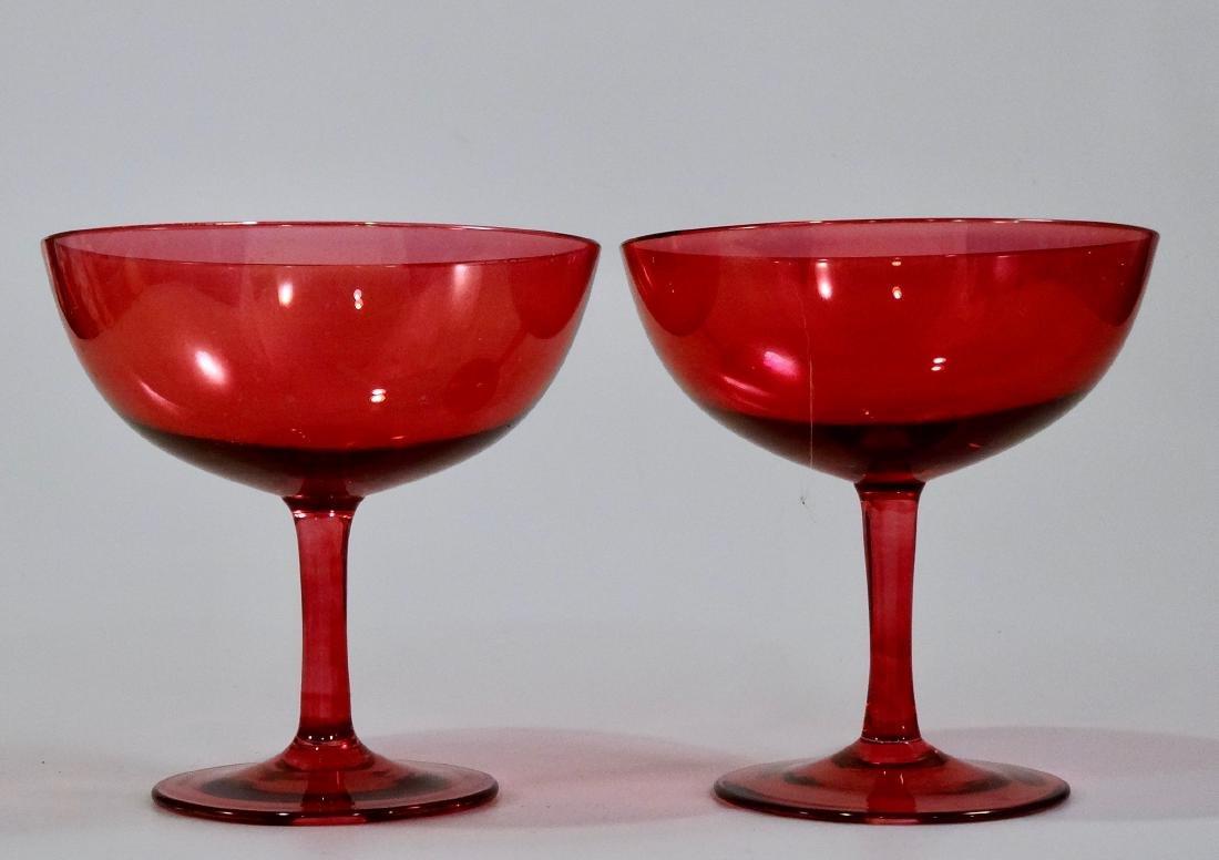 Vintage Cranberry Glass Coupe Shallow Bowl Cocktail