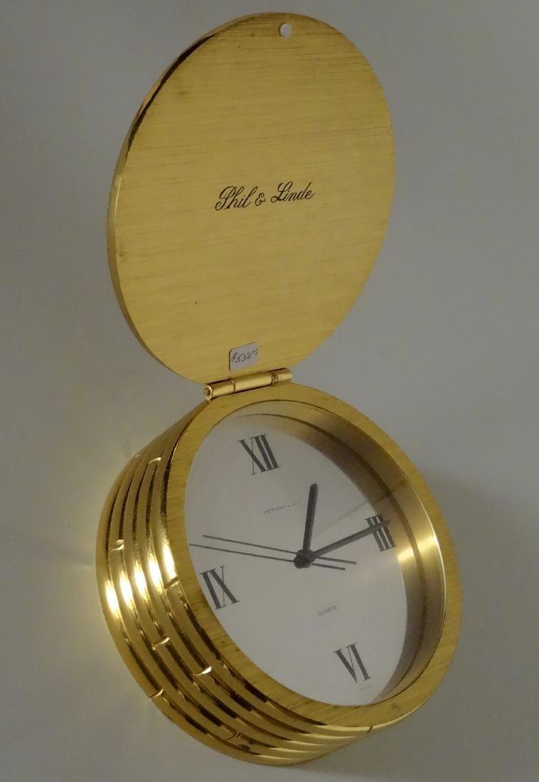 Vintage Tiffany Gilded Bronze Clock Desktop Swiss Made