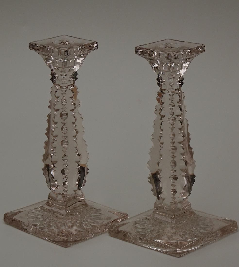 Pair Antique Fine Optic Prism EAPG Candlesticks