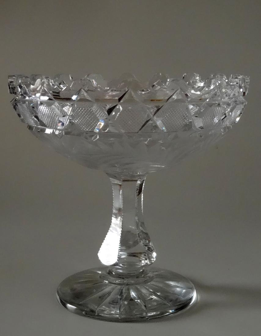 Vintage Cut Glass Pedestal Bowl on Stand Compote