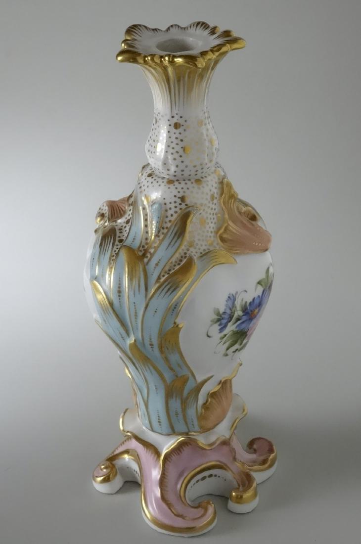 Very Fine Old Paris Porcelain Hand Painted Flacon Vase - 4