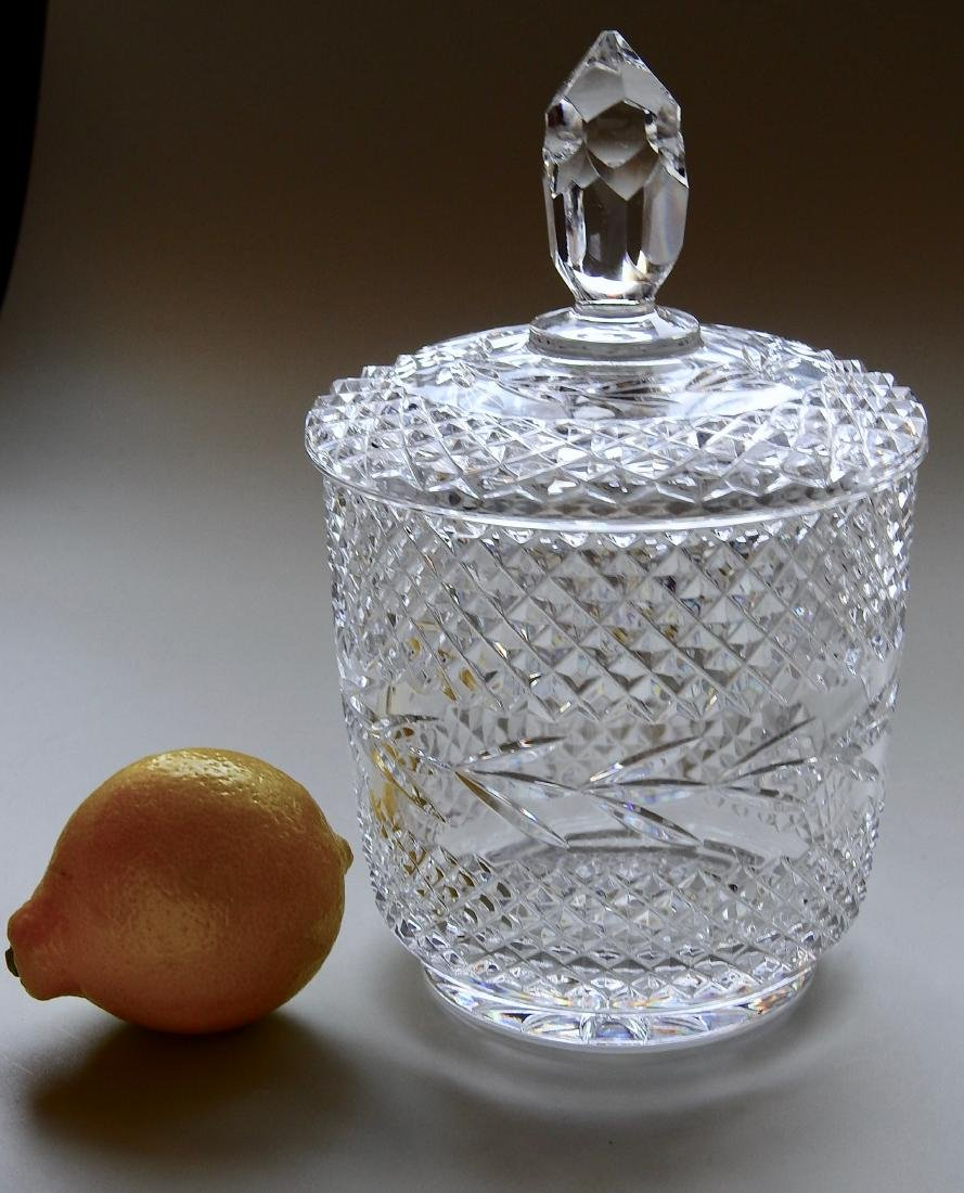 Crystal Humidor Lidded Biscuit Candy Cookie Jar Clear