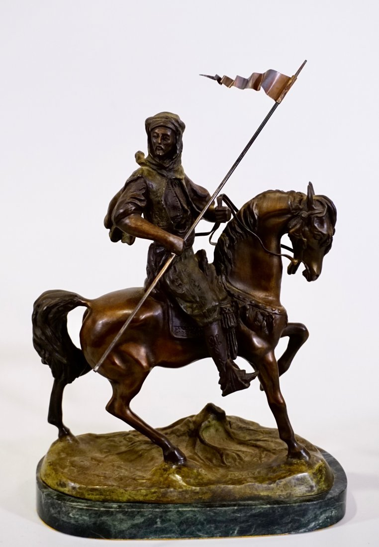 Equestrian Group Warrior on Arabian Horse Statue Signed