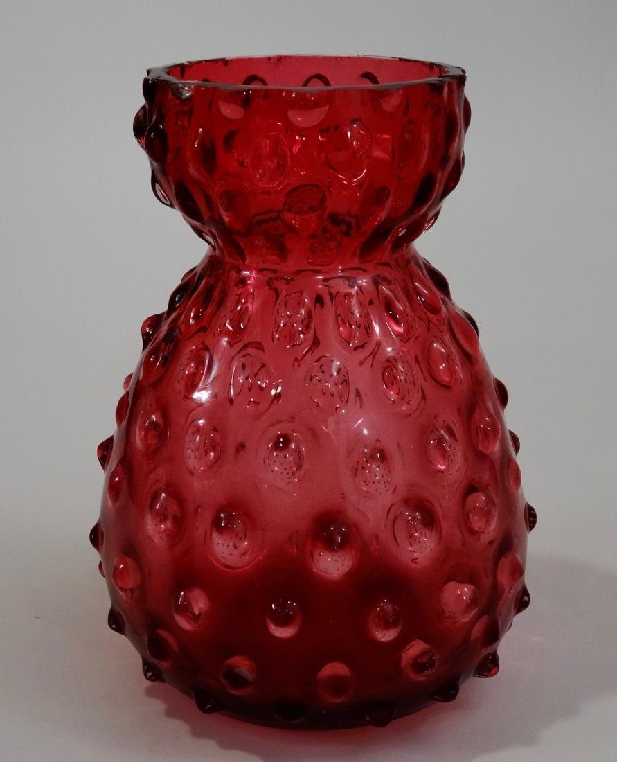 Hobnail Cranberry Glass Sak Formed Vase Pontil Blown