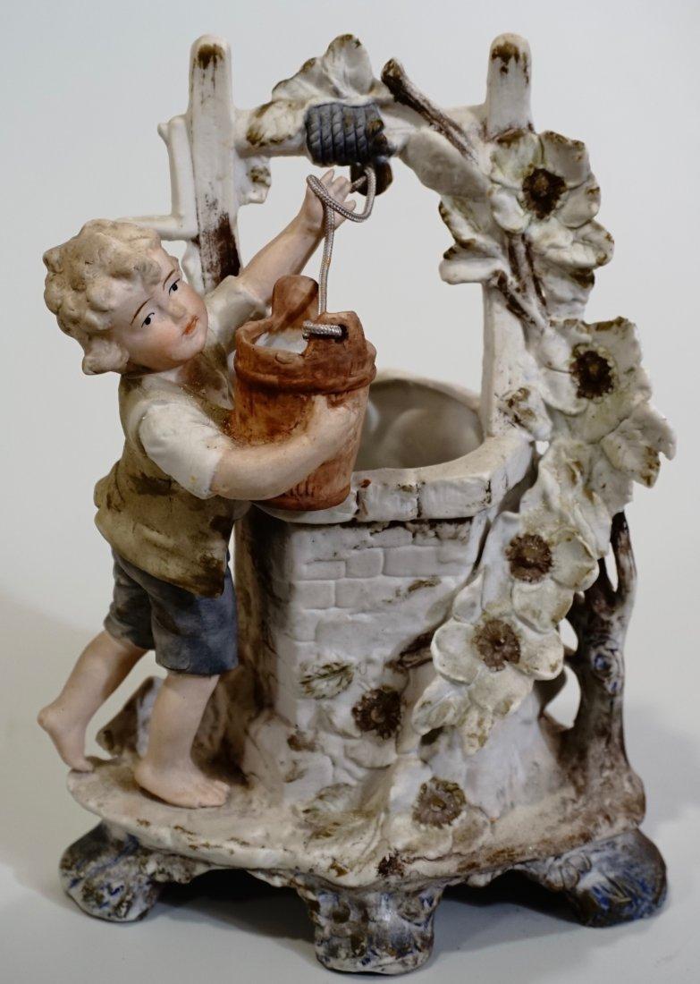 Oder German Bisque Porcelain Figural Spill Vase Well