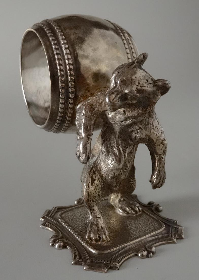 Bear with Barrel Silver Plated Napkin Ring
