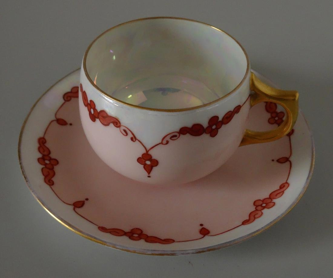 Antique c. 1900 Hand Painted Cup Saucer Fine Thin
