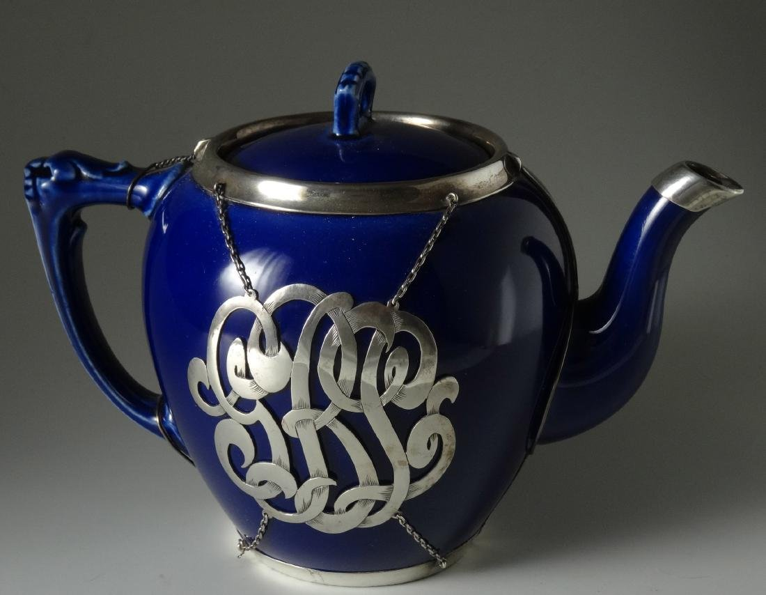 Cobalt Porcelain English Teapot with Sterling Silver