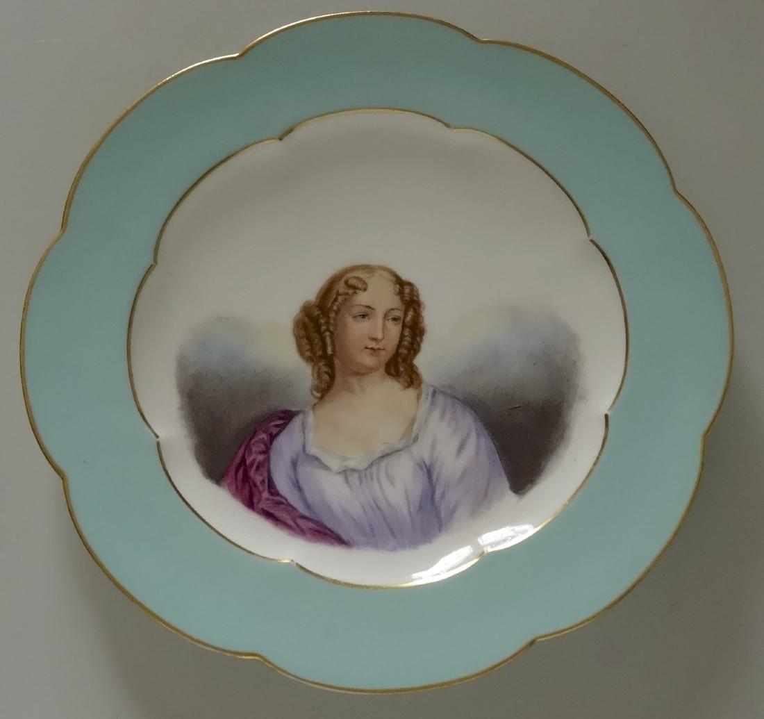 Antique Old Paris Porcelain Blue Border Beauty Portrait