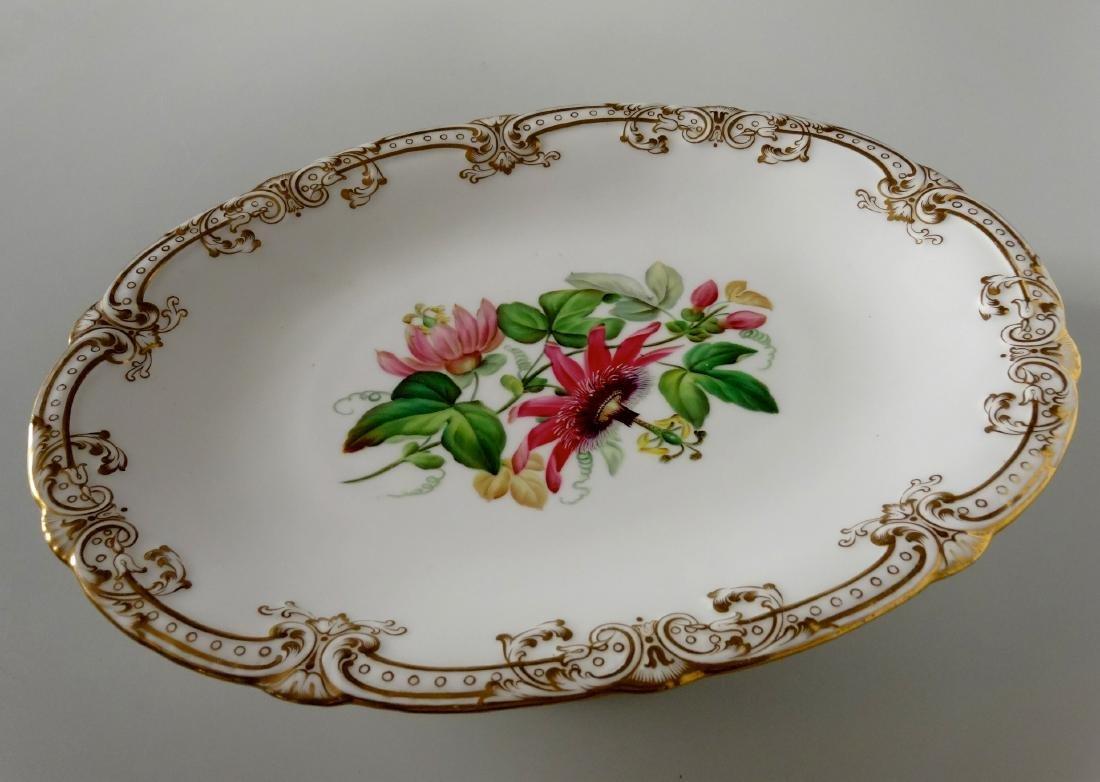 Old Paris Porcelain Oval Pedestal Dish Hand Painted