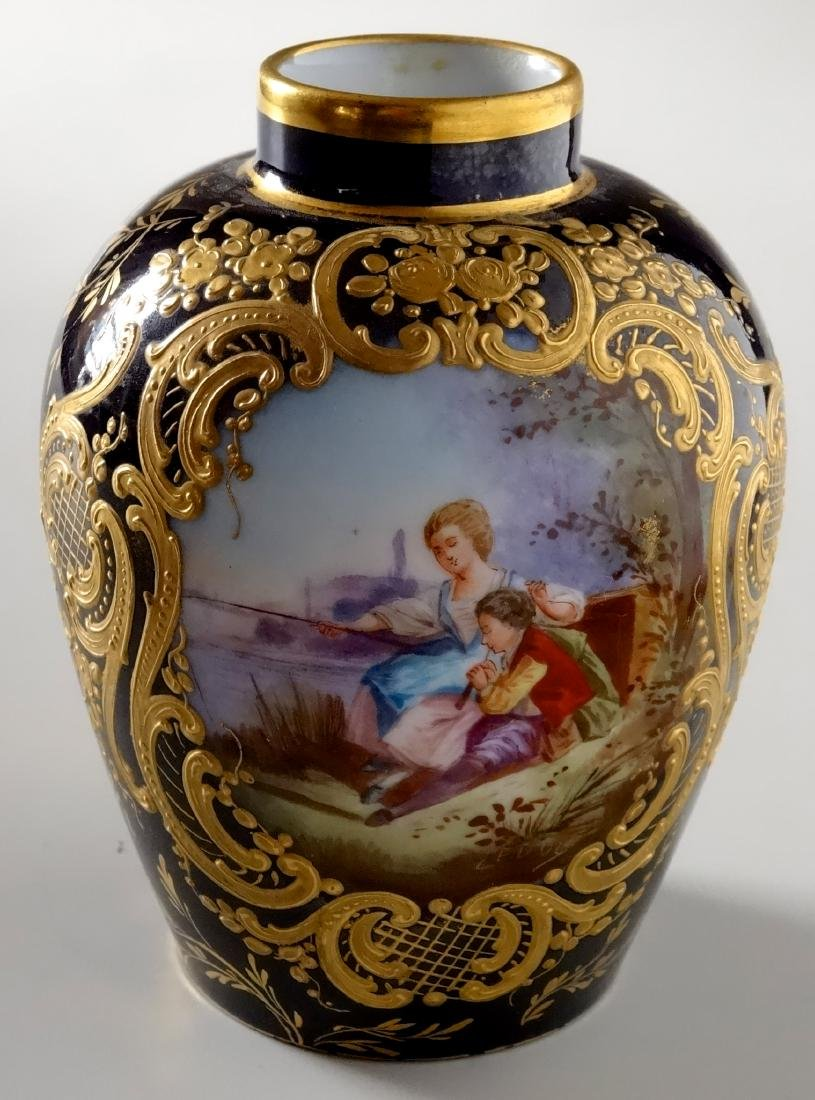 French Cobalt Hand Painted Porcelain Vase Lavishly