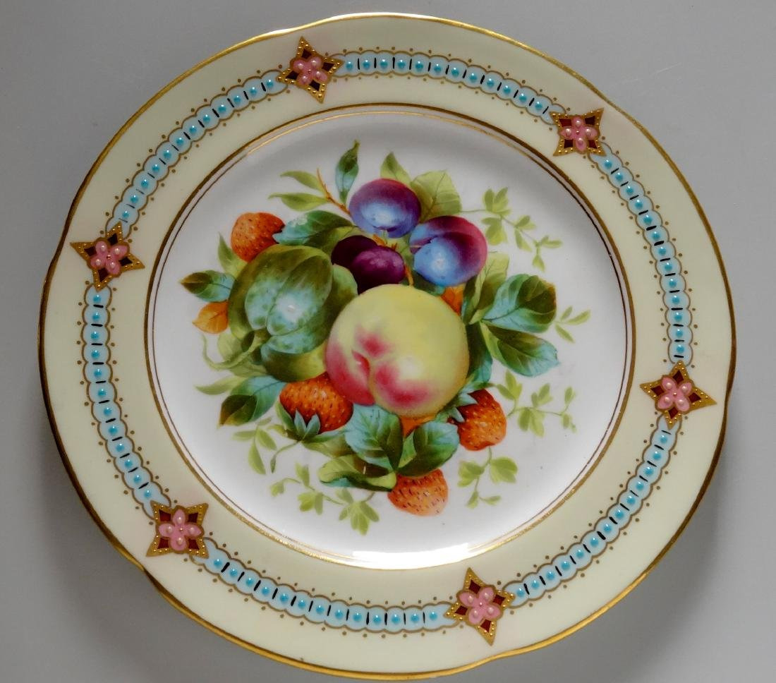 Fine Minton Style Enamel Jeweled Painted Fruits Cabinet