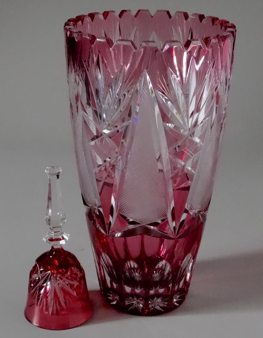 European Crystal Cranberry Cut To Clear Glass Vase and
