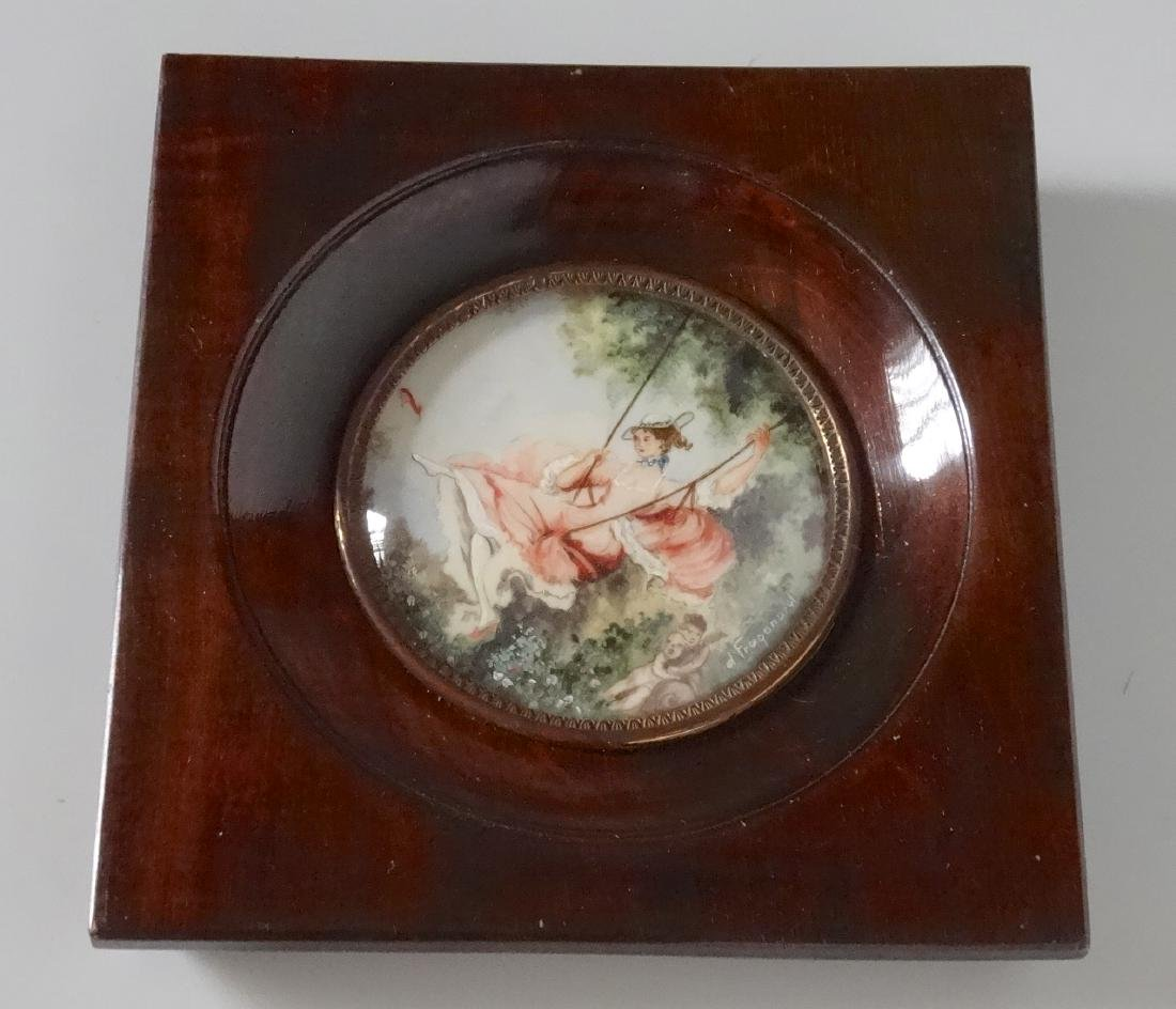 French Painted Miniature Framed Signed After Fragonard